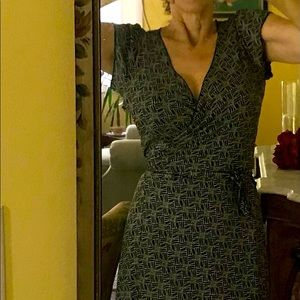 Max Studio wrap dress, black-on-beige pattern